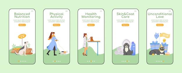 Modelo plano de tela de aplicativo móvel on-line de cuidados com animais de estimação Vetor Premium