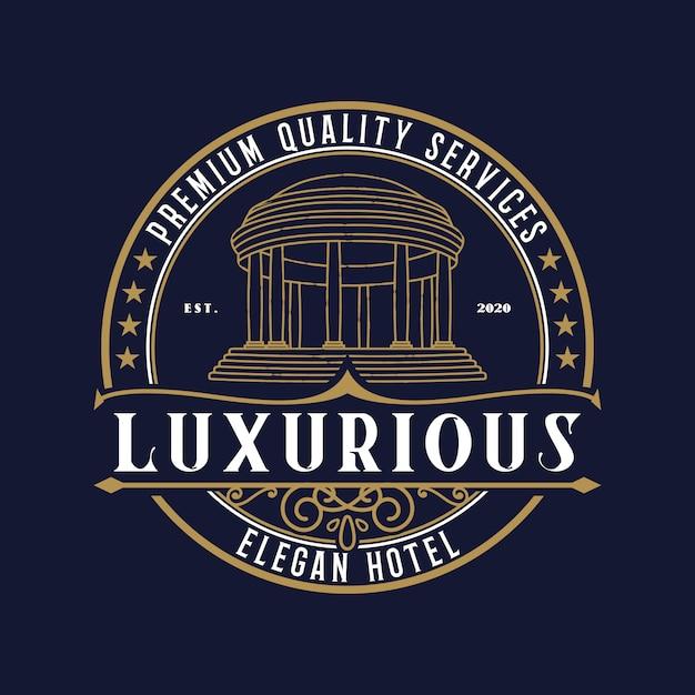 Modelo premium de logotipo de hotel de luxo Vetor Premium
