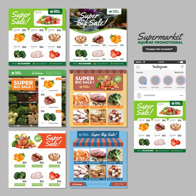 Modelo promocional do supermercado social media square Vetor Premium