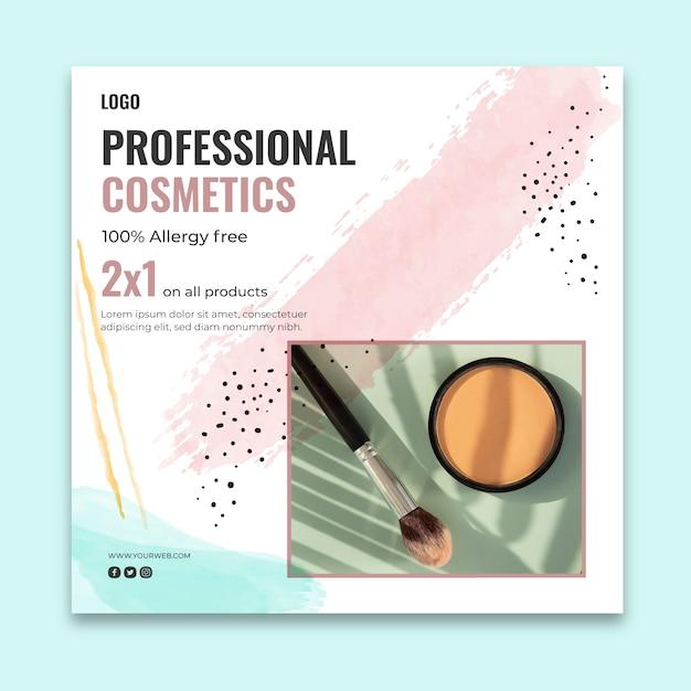Modelo quadrado de folheto cosmético Vetor Premium