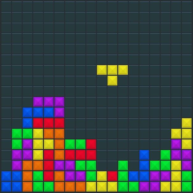 Modelo quadrado tetris do jogo Vetor Premium