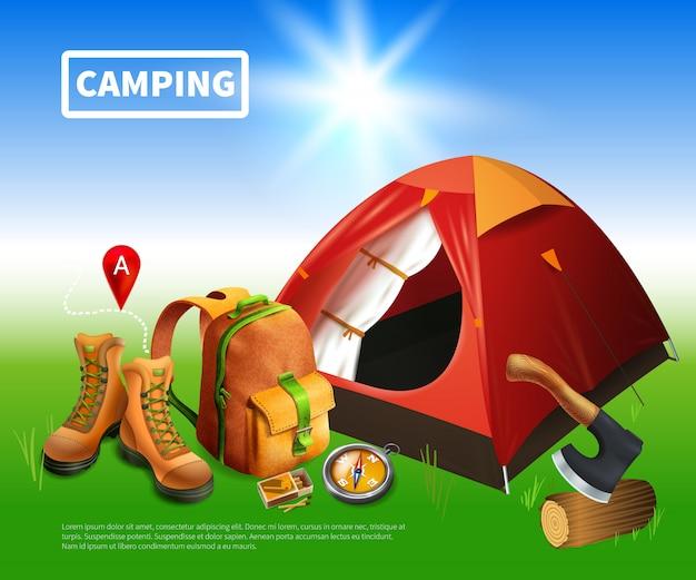 Modelo realista de acampamento Vetor grátis