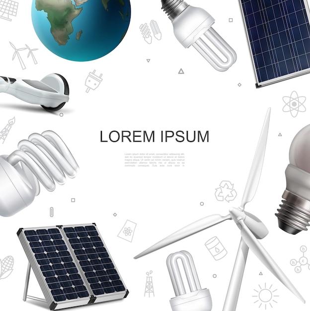 Modelo realista de economia de energia ecológica com painéis solares moinho de vento giroscópio planeta terra ilustração de lâmpadas modernas Vetor grátis