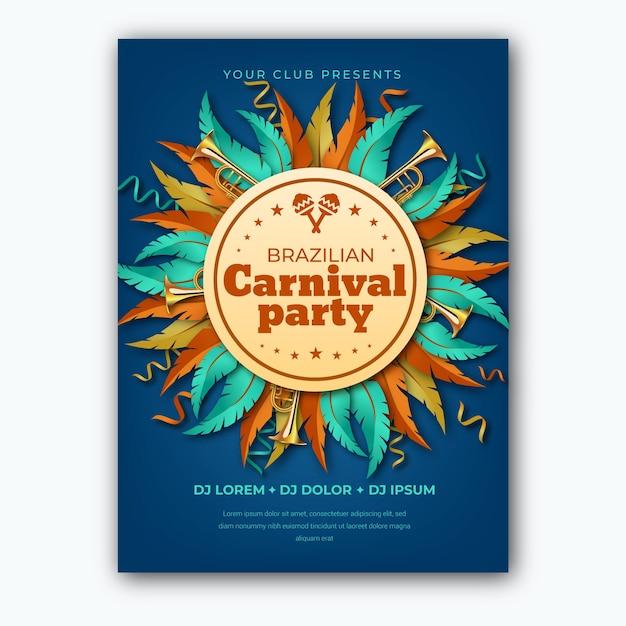 Modelo realista de folheto para carnaval brasileiro Vetor grátis