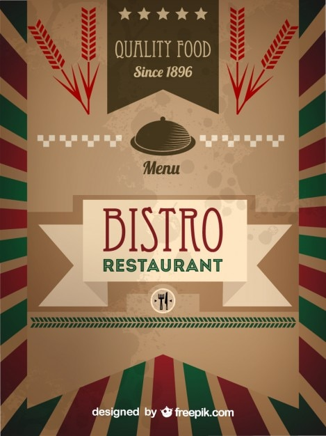 Modelo retro menu de bistr baixar vetores gr tis for Formatos y controles para restaurantes gratis