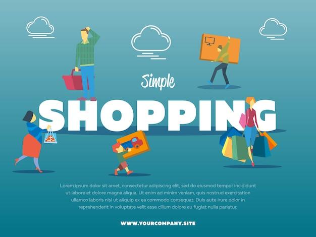 Modelo simples de compras com pessoas Vetor Premium