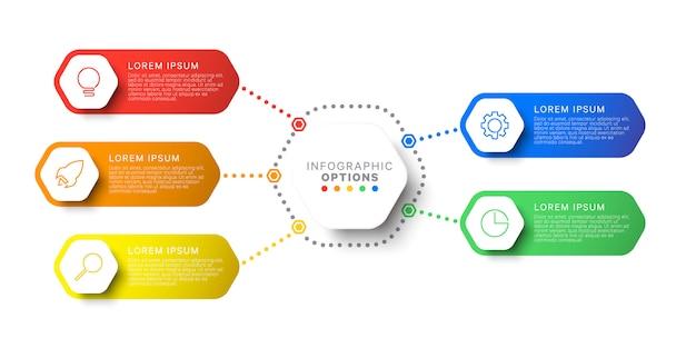 Modelo simples de infográfico de layout de design de cinco etapas com elementos hexagonais. Vetor Premium