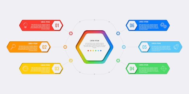 Modelo simples de infográfico de layout de design de seis etapas com elementos hexagonais. Vetor Premium