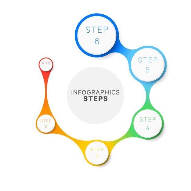 Modelo simples de infográfico de layout de design de seis etapas. Vetor Premium