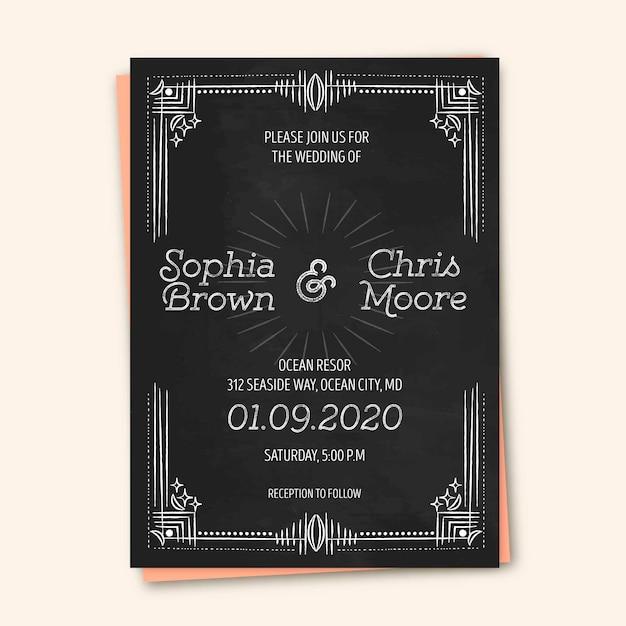 Modelo vintage de convite de casamento Vetor grátis