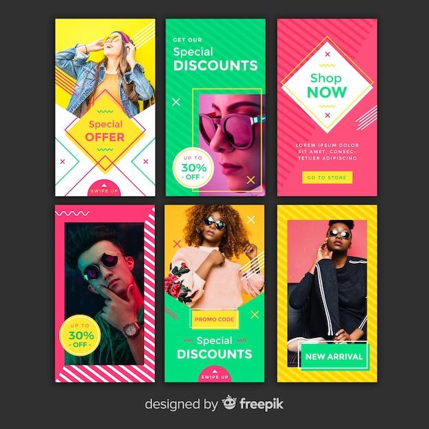 Modelos coloridos de histórias do instagram Vetor grátis