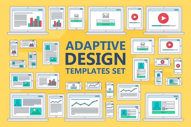 Modelos da web adaptáveis para sites Vetor Premium