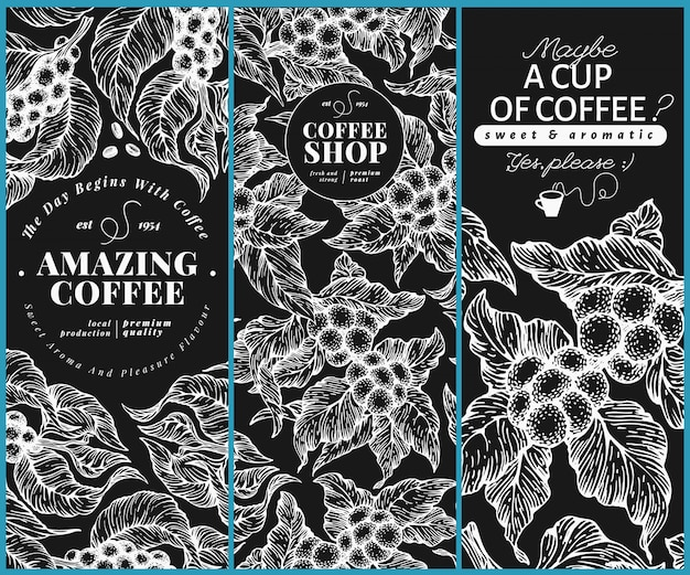 Modelos de bandeira de árvore de café. Vetor Premium