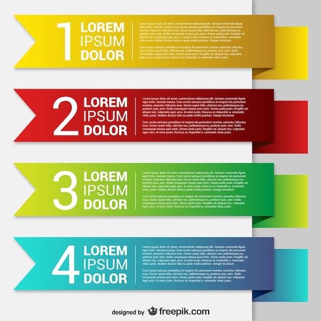Modelos de banner colorido do origami Vetor grátis
