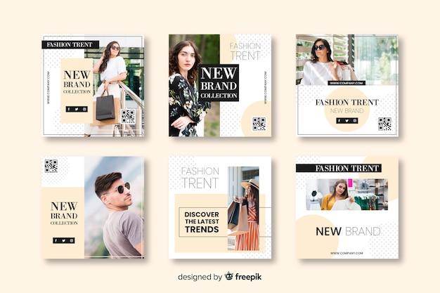 Modelos de banner de moda para mídias sociais Vetor grátis