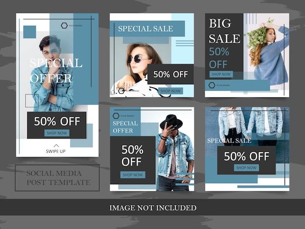 Modelos de banner de moda para post de mídia social Vetor Premium