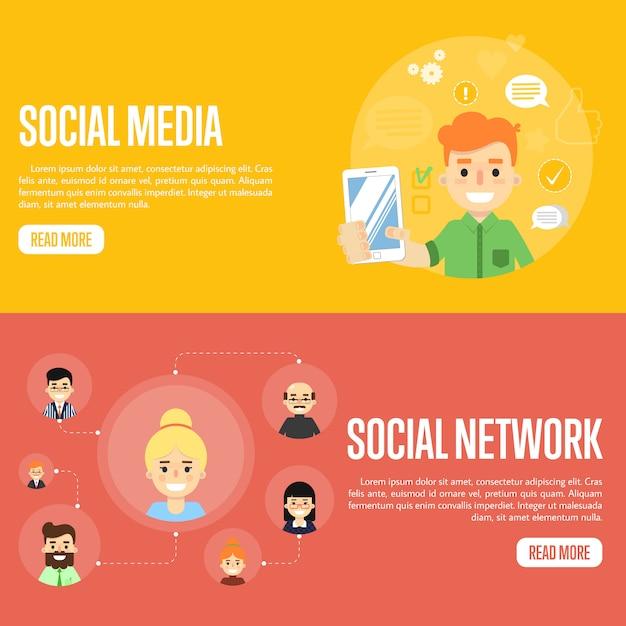 Modelos de banner de rede de mídia social Vetor Premium
