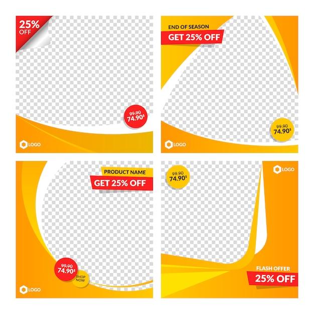 Modelos de banner de venda laranja para web e mídias sociais Vetor Premium