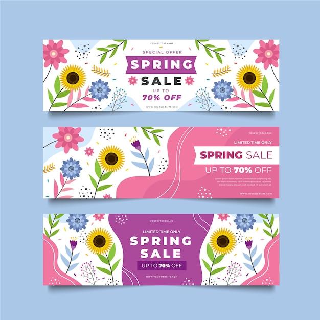 Modelos de banner de vendas verão flores desabrochando Vetor grátis