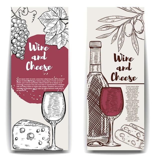 Modelos de banner de vinho e queijo. elementos para menu, cartaz, folheto. ilustração Vetor Premium