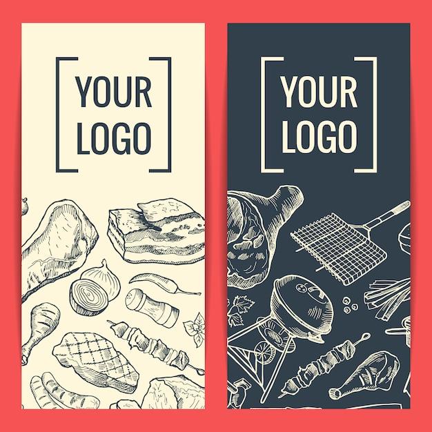 Modelos de banner ou panfleto com elementos de carne de mão desenhada e lugar para logotipo ou texto Vetor Premium