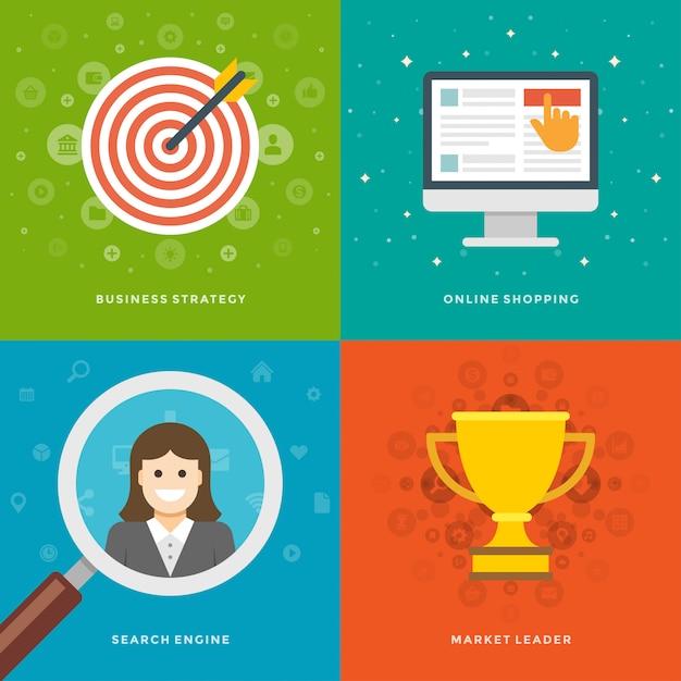 Modelos de banners de promoção do site e conjunto de ilustrações de ícones planas Vetor Premium