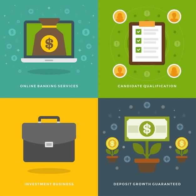 Modelos de banners de promoção do site e ícones planas Vetor Premium