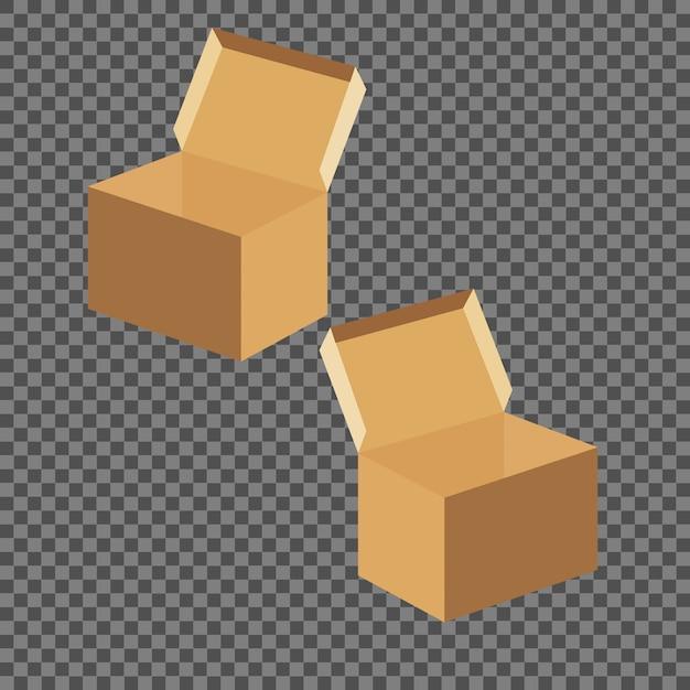 Modelos de caixa quadrada conjunto isolado em fundo transparente. Vetor Premium