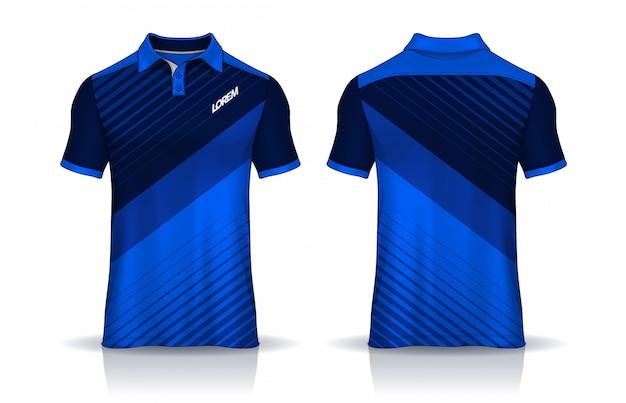 Modelos de camiseta polo uniforme vista frontal e traseira. Vetor Premium