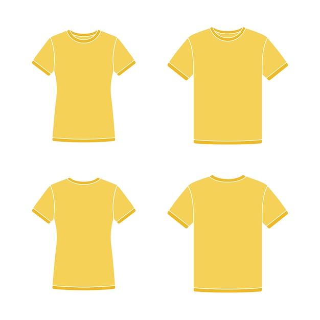 Modelos de camisetas de manga curta amarela Vetor Premium