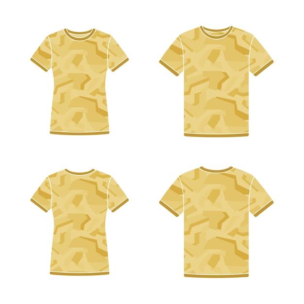Modelos de camisetas de manga curta amarelos com o padrão de camuflagem Vetor Premium