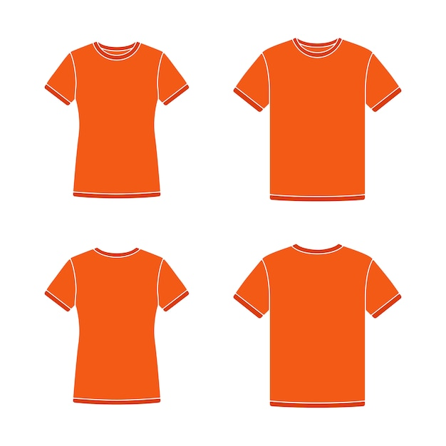 Modelos de camisetas de manga curta laranja Vetor Premium