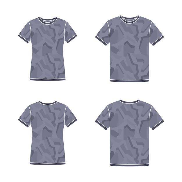 Modelos de camisetas de manga curta preta com padrão de camuflagem Vetor Premium