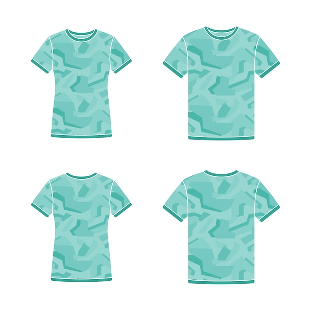 Modelos de camisetas de manga curta turquesa com o padrão de camuflagem Vetor Premium