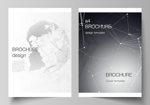 Modelos de capa em formato a4 para brochura, futuristas com o globo do mundo Vetor Premium