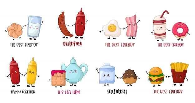 Modelos de cartão com personagens de comida kawaii dos desenhos animados Vetor Premium