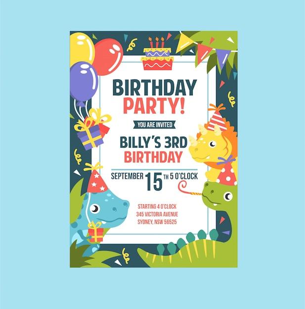 Modelos de cartão de convite de festa de aniversário dino bonito para crianças Vetor Premium