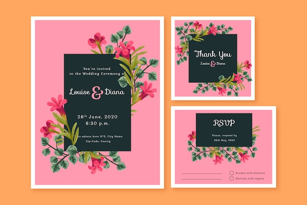 Modelos de cartão de papelaria de casamento Vetor grátis