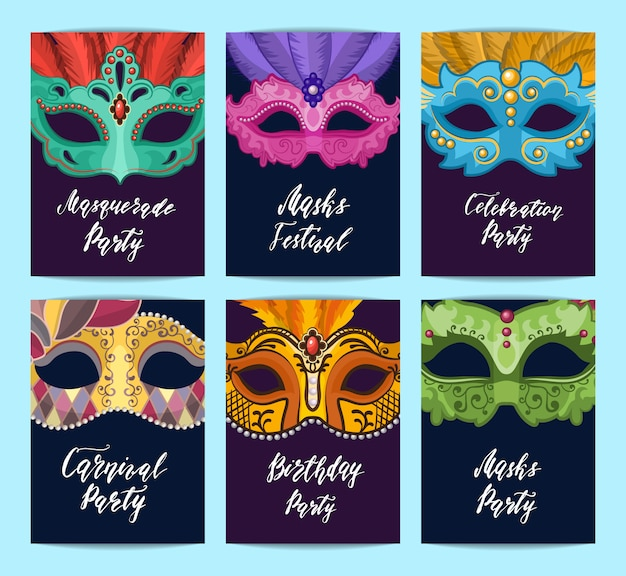 Modelos de cartão ou panfleto conjunto com máscaras de carnaval com lugar para texto Vetor Premium