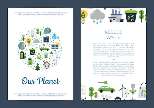 Modelos de cartão ou panfleto definido para com lugar para texto e com o conjunto de ícones plana de ecologia Vetor Premium