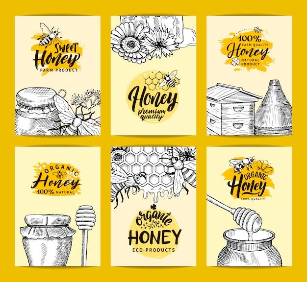 Modelos de cartão para loja de mel ou fazenda com elementos de tema de contorno de mel esboçado mão desenhada Vetor Premium