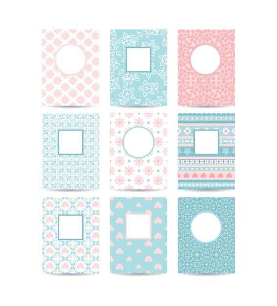 Modelos de cartão romântico rosa e azul Vetor Premium