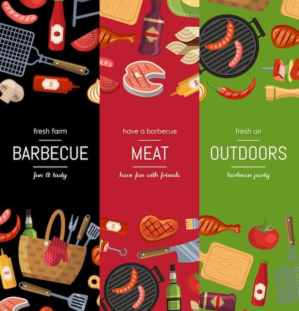 Modelos de cartaz banner vertical para churrasco ou grill cozinhar Vetor Premium