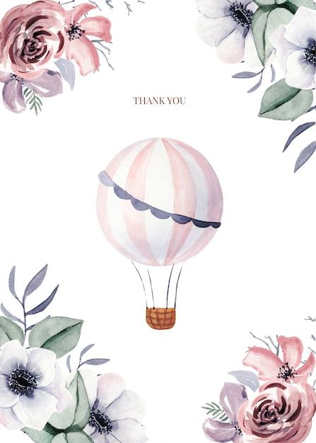 Modelos de cartões com flores e ballon bonito Vetor Premium