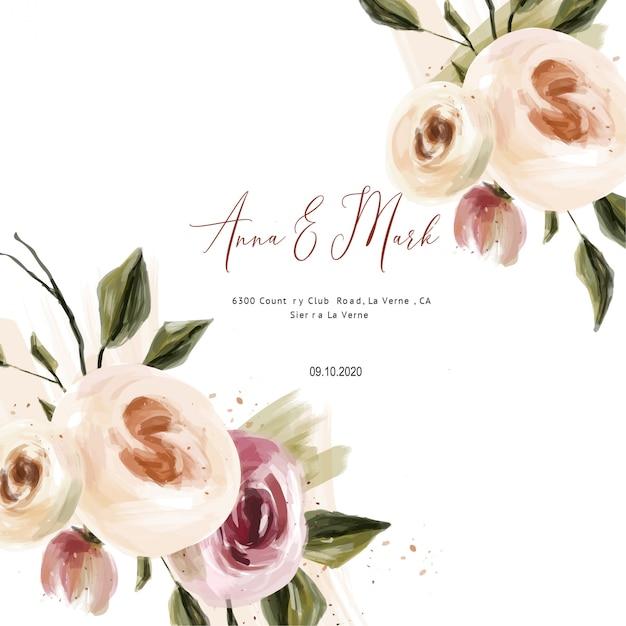 Modelos de cartões de casamento de rosas de óleo, salvar a aquarela de datas Vetor Premium