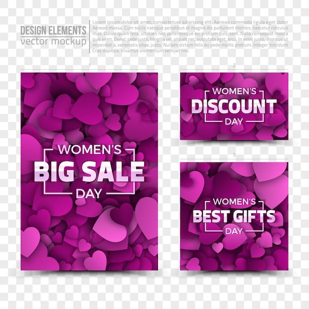 Modelos de cartões de vendas do dia das mulheres Vetor Premium