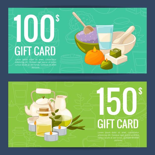 Modelos de comprovante de cartão de desconto ou presente com ilustração de elementos de beleza e spa dos desenhos animados Vetor Premium