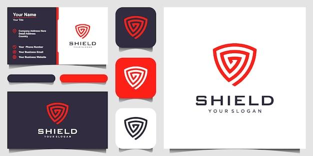 Modelos de conceito de escudo criativo. ícone e cartão de visita Vetor Premium