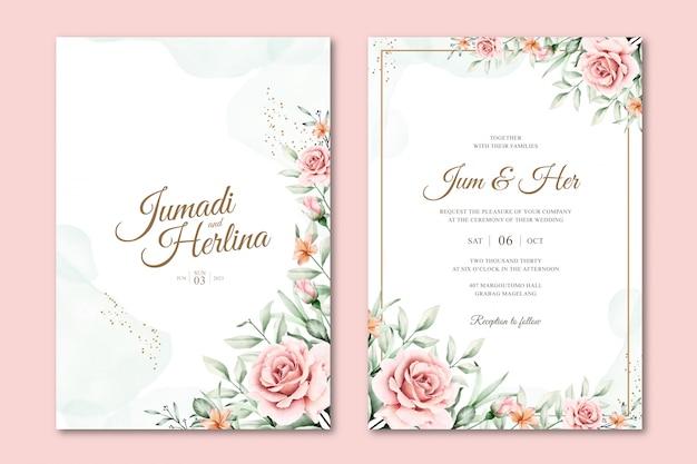 Modelos de convite de casamento floral aquarela linda Vetor Premium