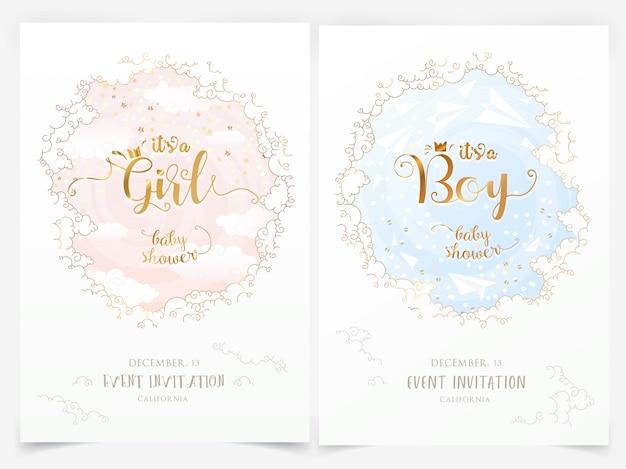 Modelos de convite de chuveiro de bebê com nuvens e é uma menina, menino letras Vetor Premium